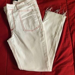 Express Jeans. White with red stitching. Size 8Reg